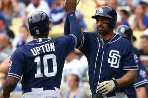 Justin Upton's slam, 6 RBIs lead Shields, Padres over Dodgers